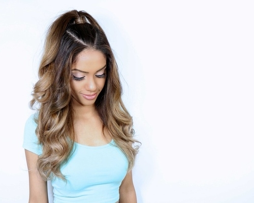 Wedding Hair: Ariana Grande Inspired Half Up Ponytail Hairstyle Throughout Half Up Curly Look Pony Hairstyles (View 13 of 25)