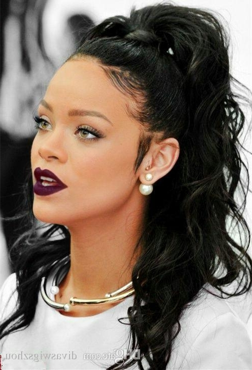 Wet Wavy Ponytail For African American Women Rihanna New Stylish Pertaining To On Top Ponytail Hairstyles For African American Women (View 25 of 25)