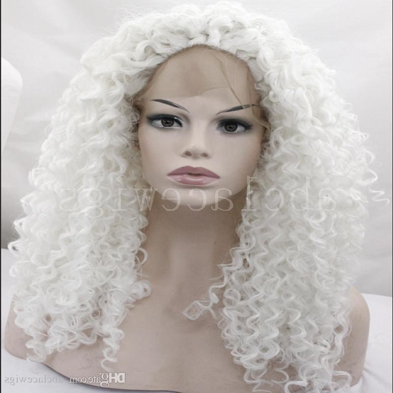 White Blonde Afro Kinky Curly Hairstyle Synthetic Lace Front Wigs With Regard To White Blonde Curls Hairstyles (View 23 of 25)
