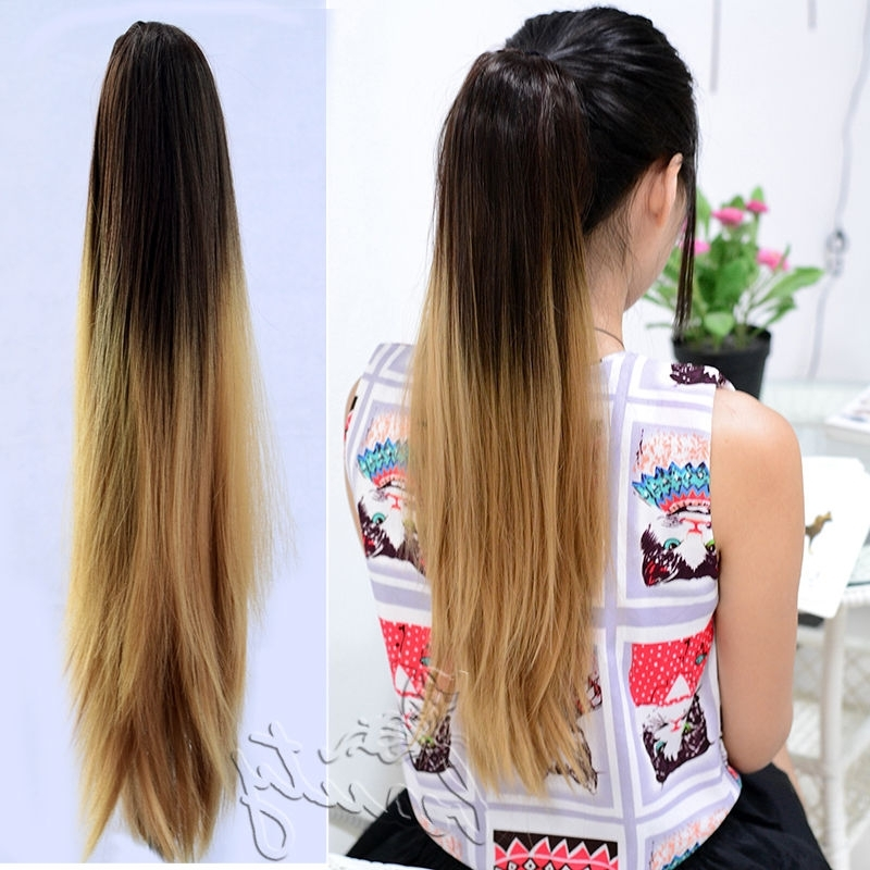 Wholesale 20 Sexy Long Straight Ponytails Light Brown Ombre Hair With Ombre Curly Ponytail Hairstyles (View 14 of 25)
