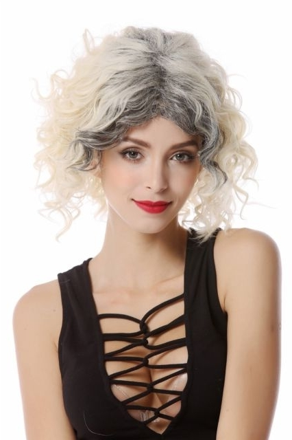 Wig Platinum Blonde Outgrown Dark Roots Middle Part Curly Short | Ebay With Platinum Blonde Hairstyles With Darkening At The Roots (View 18 of 25)