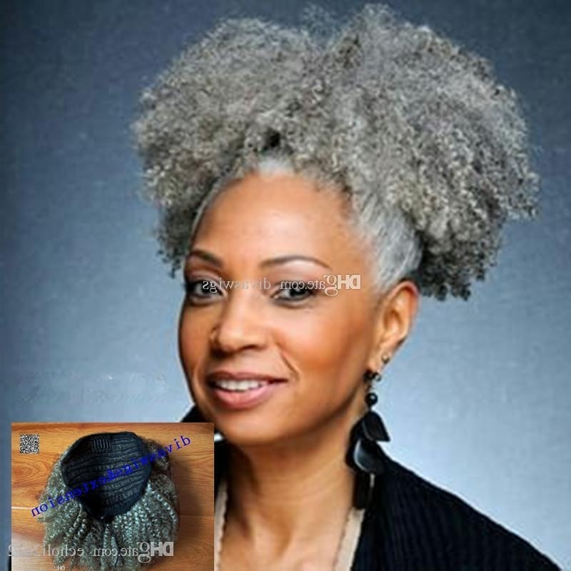 Women Gray Hair Extension Silver Grey Afro Puff Kinky Curly With Regard To Highlighted Afro Curls Ponytail Hairstyles (View 5 of 25)