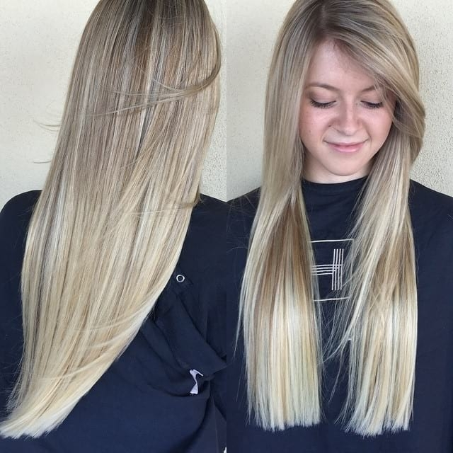 Women's Blonde Blunt Cut With Long Side Swept Front Layers And Throughout Sun Kissed Blonde Hairstyles With Sweeping Layers (View 11 of 25)