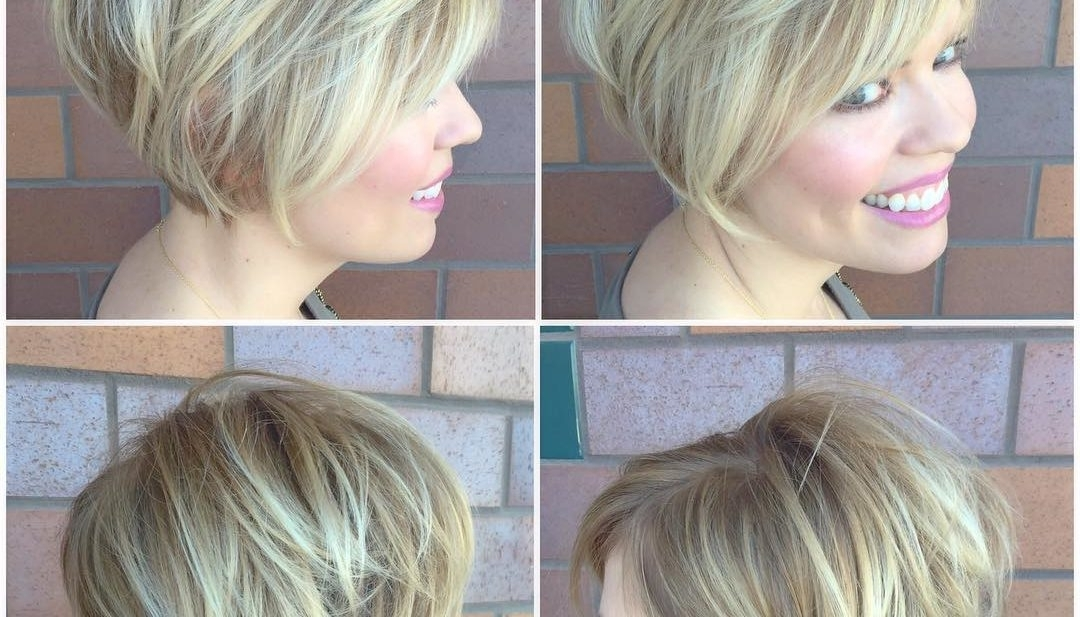 Women's Blonde Stacked Bob With Side Swept Bangs And Highlights Pertaining To Side Swept Warm Blonde Hairstyles (View 19 of 25)
