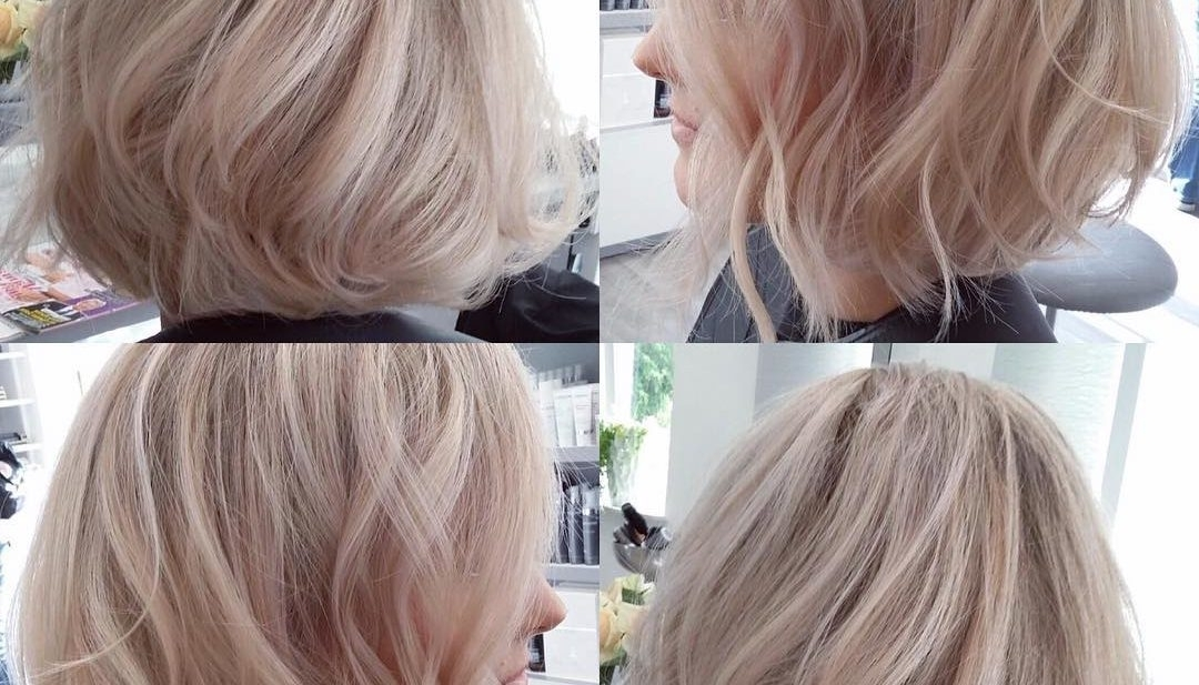 Women's Blowout Angled Bob With Tousled Waves On Blonde Hair With Intended For Blonde Hairstyles With Platinum Babylights (View 25 of 25)
