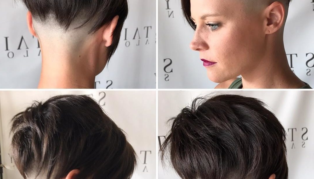 Women's Brunette Choppy Asymmetrical Undercut Pixie Short Hairstyle Intended For Current Choppy Pixie Fade Hairstyles (View 22 of 25)