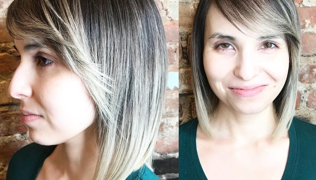 Women's Sleek Classic Bob With Flipped Side Swept Bangs And Ash Inside Sleek Ash Blonde Hairstyles (View 22 of 25)