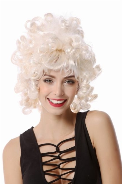 Women's Wig Baroque Rococo Short Corkscrew Curls White Blonde Curly For White Blonde Curls Hairstyles (View 20 of 25)