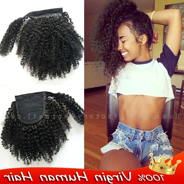 Wrap Around Ponytails Afro Kinky Curly Ponytail 100% Real H Uman In Pony Hairstyles For Natural Hair (View 14 of 25)