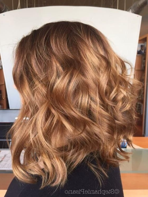Your Hair Color This Spring: 17 Examples From Golden Blonde To Denim With Wavy Caramel Blonde Lob Hairstyles (View 16 of 25)