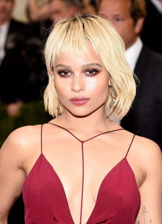 Zoe Kravitz Short Blonde Bob Cut With Wispy Bangs   Styles Weekly With Regard To Cute Blonde Bob With Short Bangs (View 9 of 25)