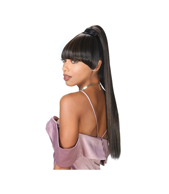 Zury Drawstring Synthetic Ponytail Miss Bang Kiki For Pineapple Pony Hairstyles With Whirl Bangs (View 25 of 25)