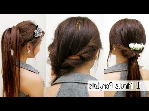 1 Minute Ponytails (Timed) L Quick Cute & Easy School Hairstyles Pertaining To 2 Minute Side Pony Hairstyles (View 11 of 25)
