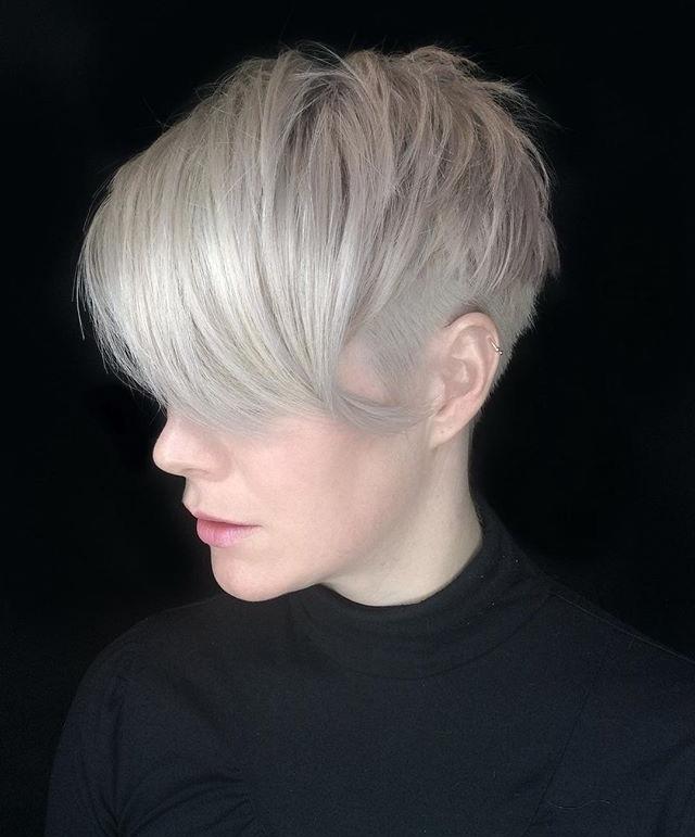 10 Beautiful Asymmetrical Short Pixie Haircuts & Hairstyles, Women Within Ash Blonde Undercut Pixie Haircuts (View 6 of 25)