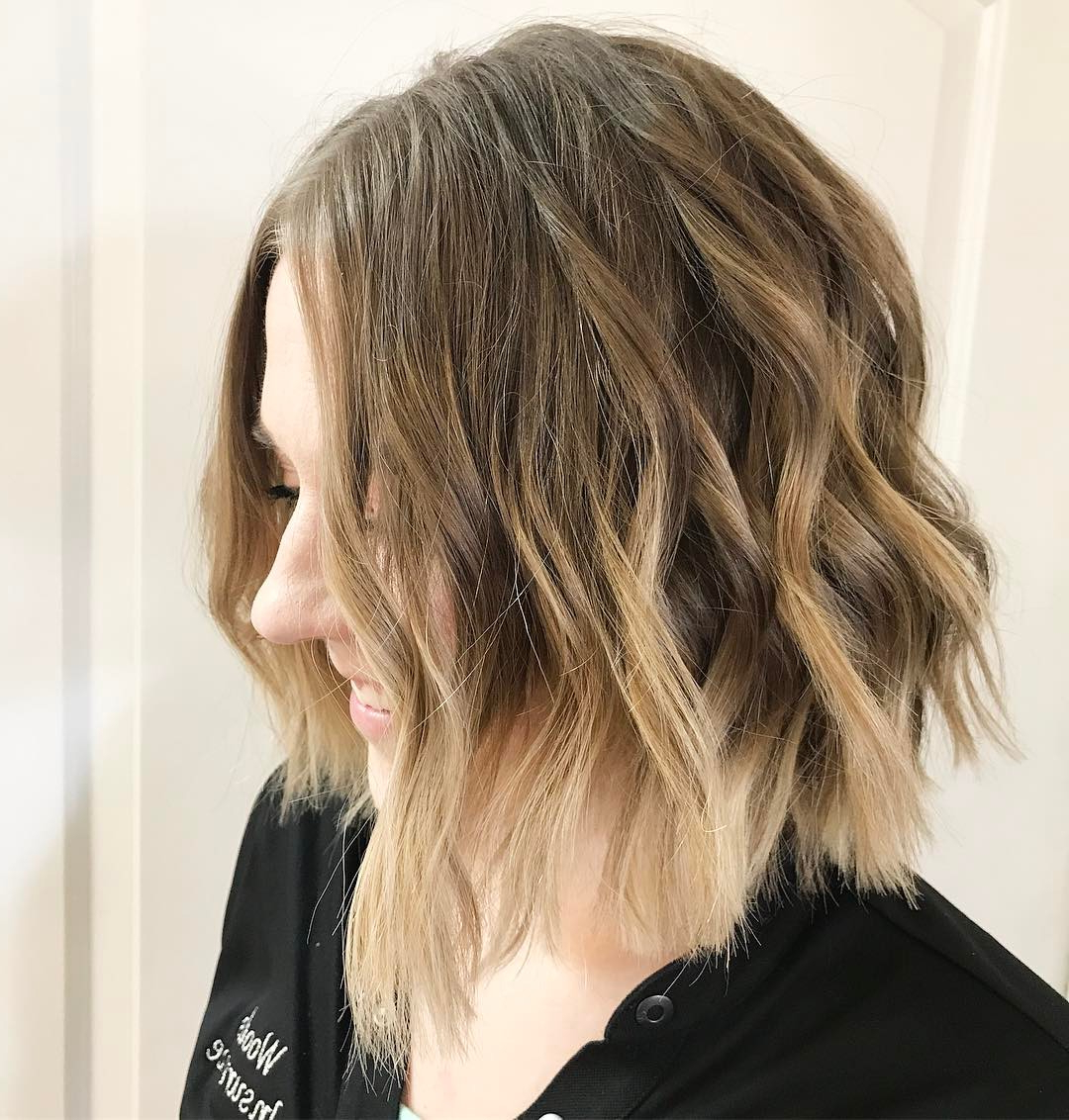 10 Beautiful Medium Bob Haircuts &edgy Looks: Shoulder Length With Angled Brunette Bob Hairstyles With Messy Curls (View 16 of 25)