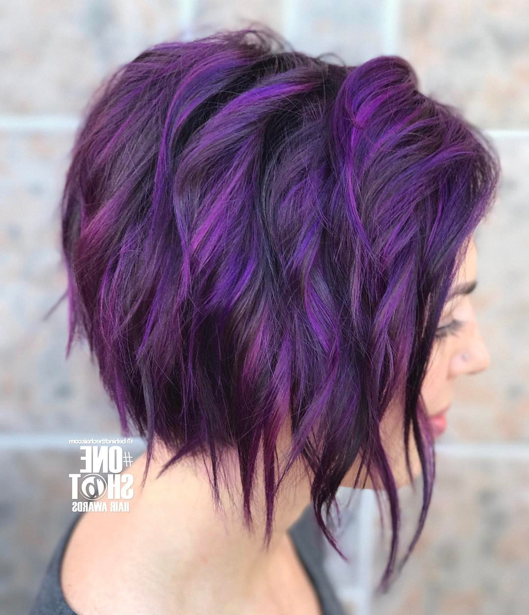 10 Chic Short Bob Haircuts That Balance Your Face Shape! – Short Inside Purple And Black Short Hairstyles (View 11 of 25)