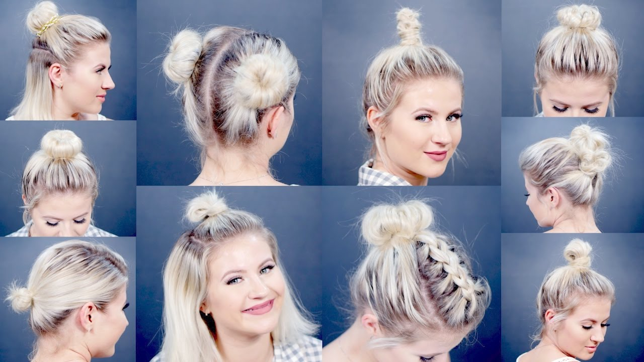 10 Easy Different Bun Hairstyles For Short Hair | Milabu – Youtube Within Cute Hairstyles With Short Hair (View 6 of 25)