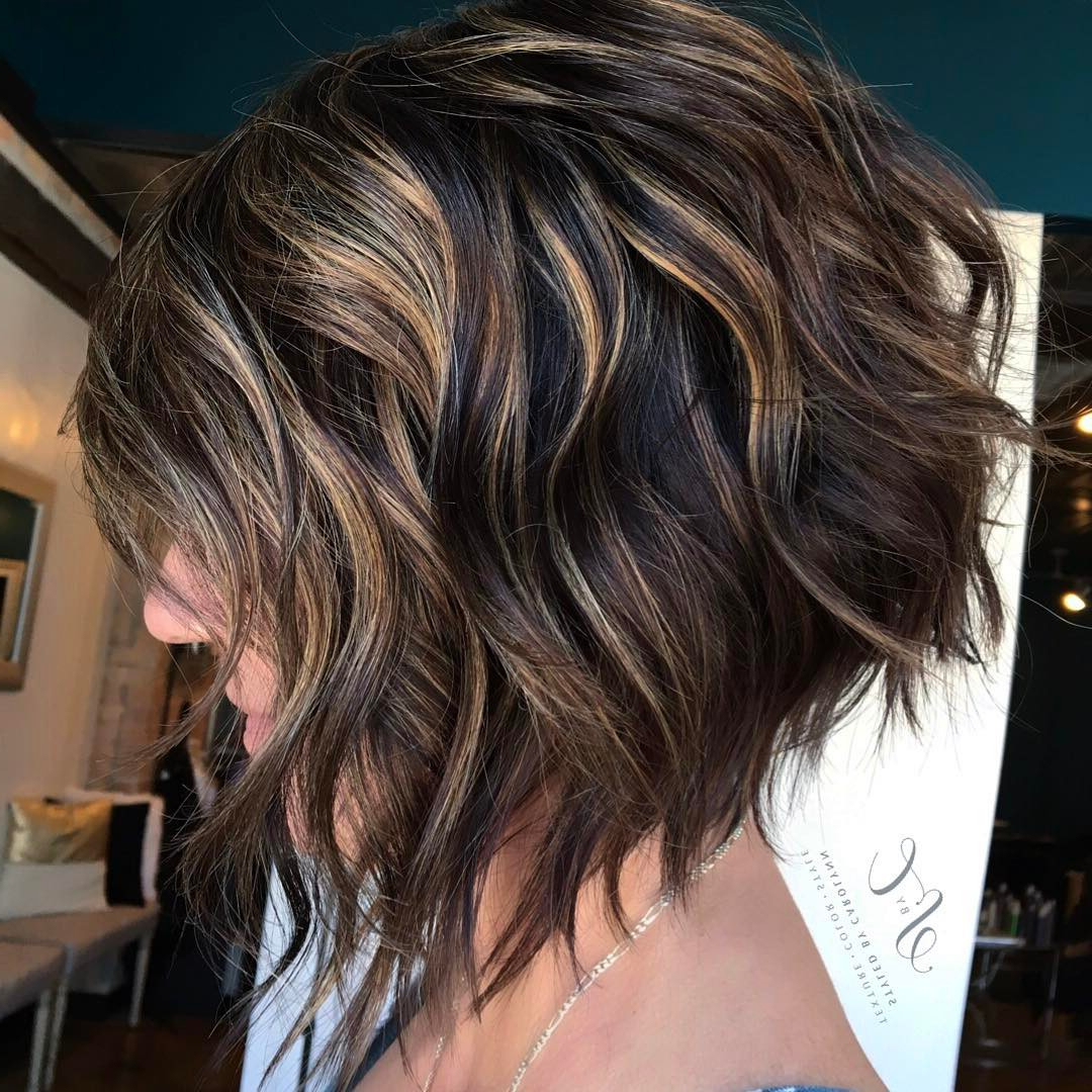 10 Latest Inverted Bob Haircuts: 2018 Short Hairstyle, High Fashion In Nape Length Wavy Ash Brown Bob Hairstyles (View 8 of 25)