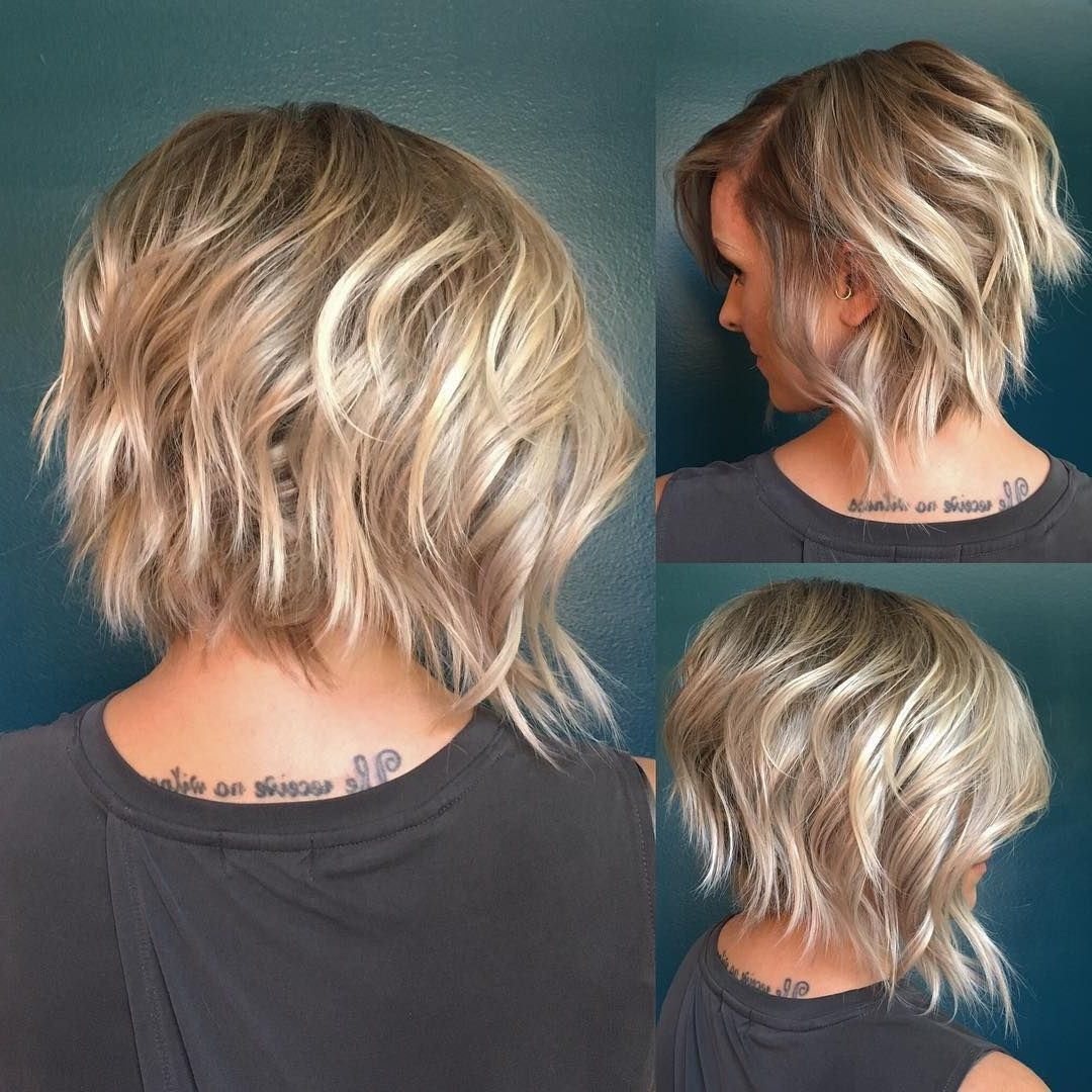 10 Latest Inverted Bob Haircuts: 2018 Short Hairstyle, High Fashion With Edgy Brunette Bob Hairstyles With Glossy Waves (View 1 of 25)