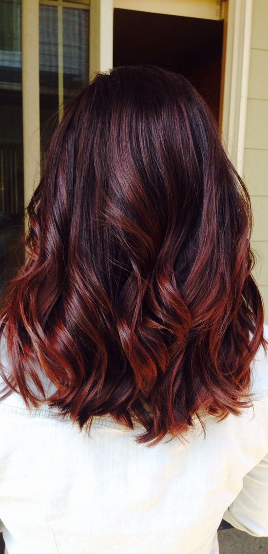 10 Pretty Layered Medium Hairstyles 2019 Intended For Stacked Black Bobhairstyles  With Cherry Balayage (View 19 of 25)