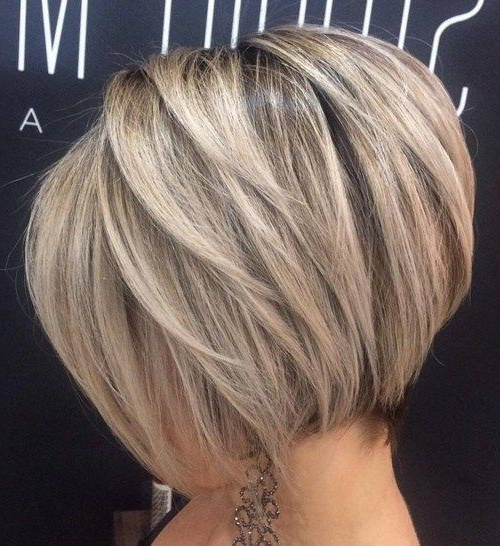10 Stylish Short Hair Cuts For Thick Hair: Women Short Hairstyle With Stacked Blonde Balayage Pixie Hairstyles For Brunettes (View 22 of 25)