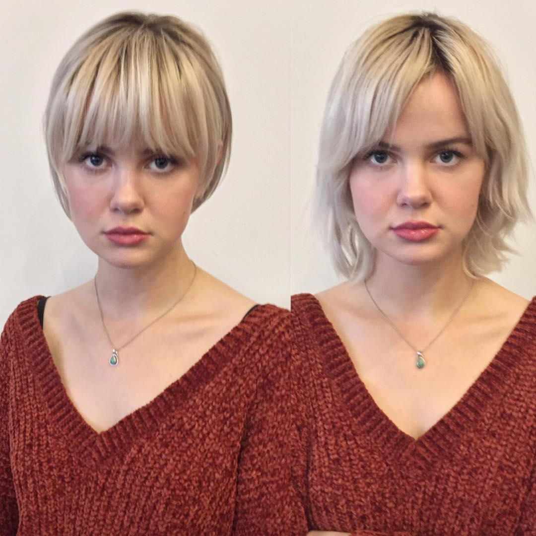 10 Trendy Before And After Transformations From Long Hair To Short Inside Short Haircuts With Longer Bangs (View 10 of 25)