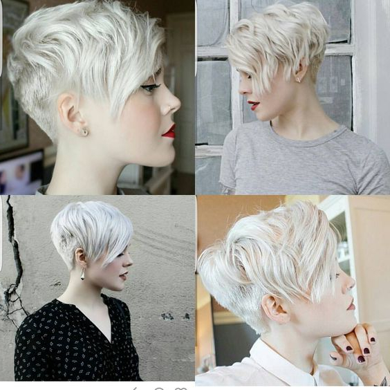 10 Trendy Pixie Hair Cut For Blondes & Brunettes 2019 Inside Side Parted White Blonde Pixie Bob Haircuts (View 6 of 25)