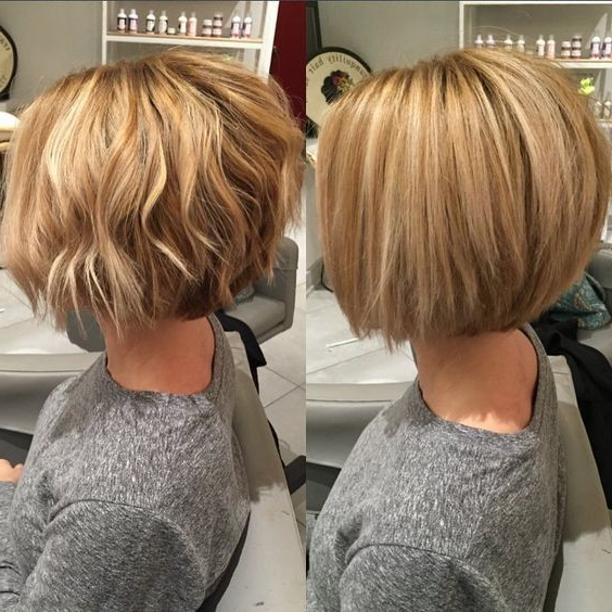 10 Winning Looks With Layered Bob Hairstyles: 2017 Short Hair Cuts For Caramel Blonde Rounded Layered Bob Hairstyles (View 18 of 25)