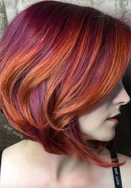 100 Badass Red Hair Colors: Auburn, Cherry, Copper, Burgundy Hair Throughout Burgundy And Tangerine Piecey Bob Hairstyles (View 2 of 25)