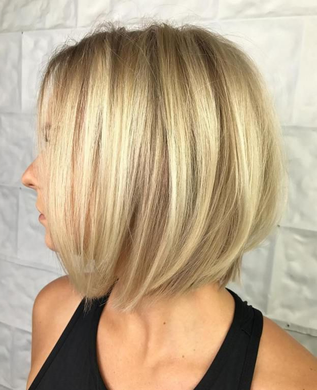 100 Mind Blowing Short Hairstyles For Fine Hair | Bobs, Blondes And In Butter Blonde A Line Bob Hairstyles (View 4 of 25)