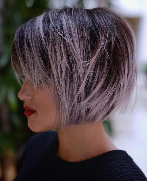 100 Mind Blowing Short Hairstyles For Fine Hair | Bobs, Short For Choppy Brown And Lavender Bob Hairstyles (View 7 of 25)