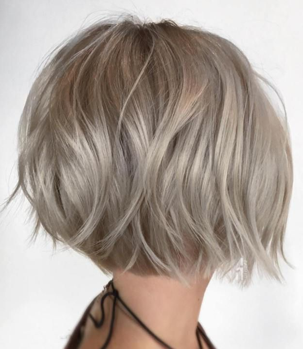 Featured Photo of Choppy Rounded Ash Blonde Bob Haircuts