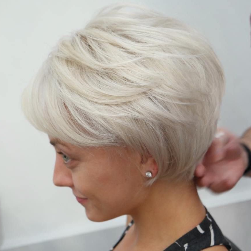 100 Mind Blowing Short Hairstyles For Fine Hair | Haircuts With Sleek Metallic White Pixie Bob Haircuts (View 3 of 25)