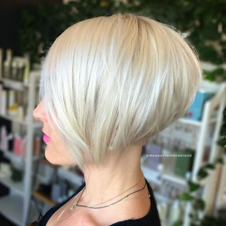 100 Mind Blowing Short Hairstyles For Fine Hair | Hairstyles Regarding Stacked Sleek White Blonde Bob Haircuts (View 4 of 25)