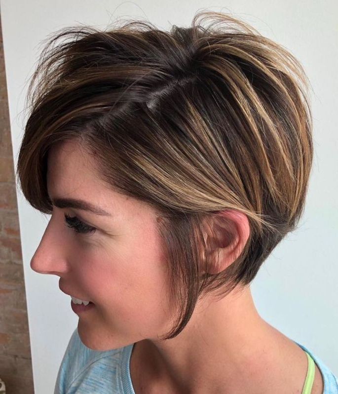100 Mind Blowing Short Hairstyles For Fine Hair In 2018 | Hair Cuts Inside Bronde Balayage Pixie Haircuts With V Cut Nape (View 7 of 25)