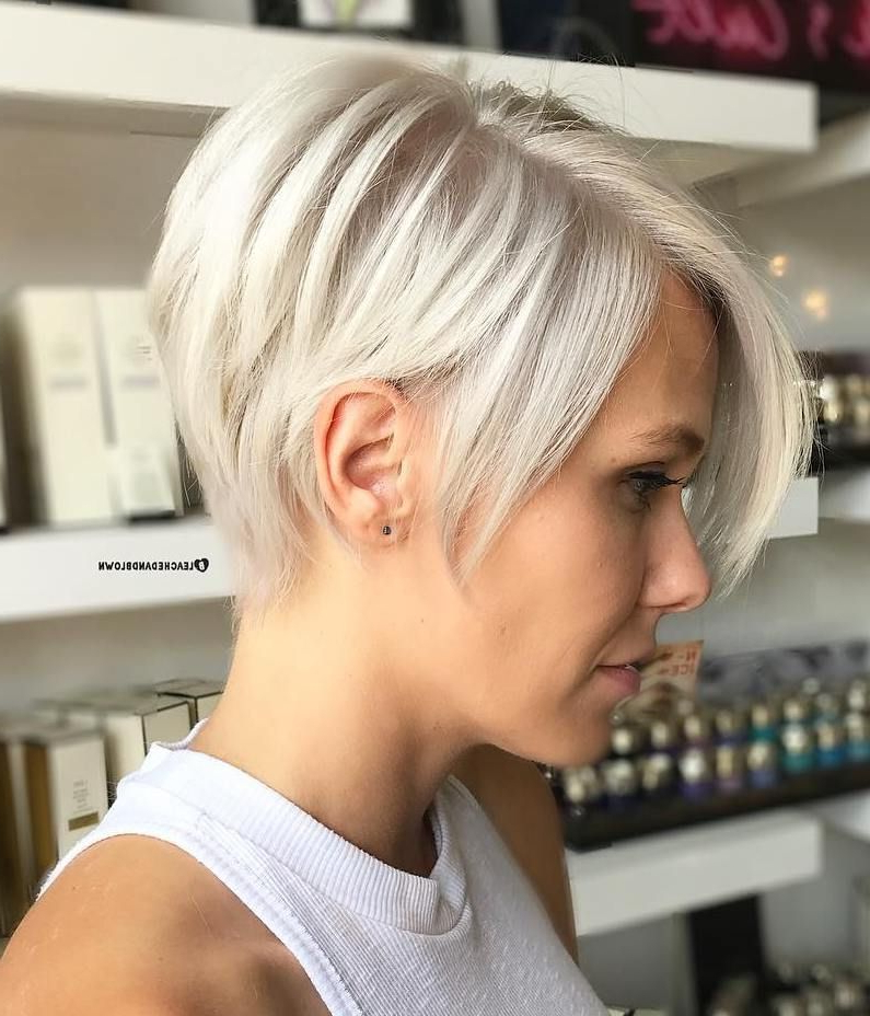 Featured Photo of Side Parted White Blonde Pixie Bob Haircuts