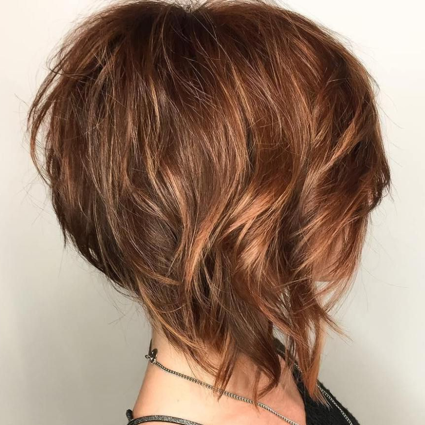 100 Mind Blowing Short Hairstyles For Fine Hair In 2018 | Short Hair Within Angled Burgundy Bob Hairstyles With Voluminous Layers (View 8 of 25)