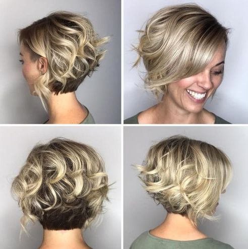 Featured Photo of Two Tone Curly Bob Haircuts With Nape Undercut