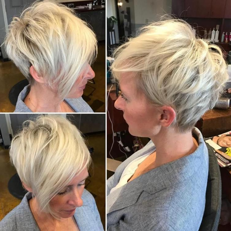 Featured Photo of Disheveled Blonde Pixie Haircuts With Elongated Bangs