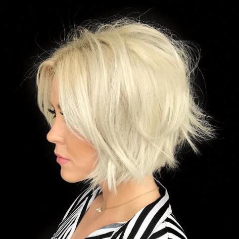 Featured Photo of Frizzy Razored White Blonde Bob Haircuts