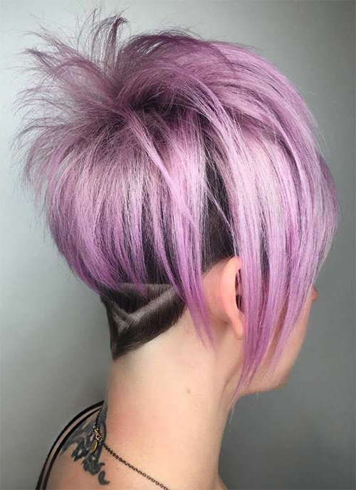 100 Short Hairstyles For Women: Pixie, Bob, Undercut Hair | Fashionisers Inside Lavender Haircuts With Side Part (View 18 of 25)