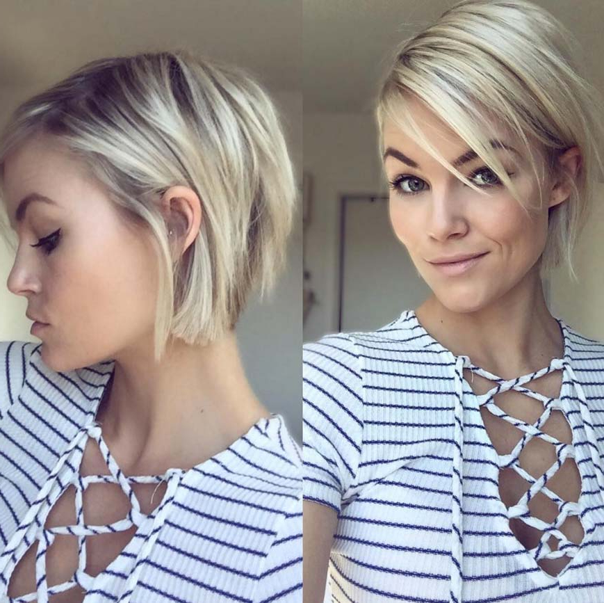 100 Short Hairstyles For Women: Pixie, Bob, Undercut Hair   Fashionisers Inside Side Parted White Blonde Pixie Bob Haircuts (View 9 of 25)
