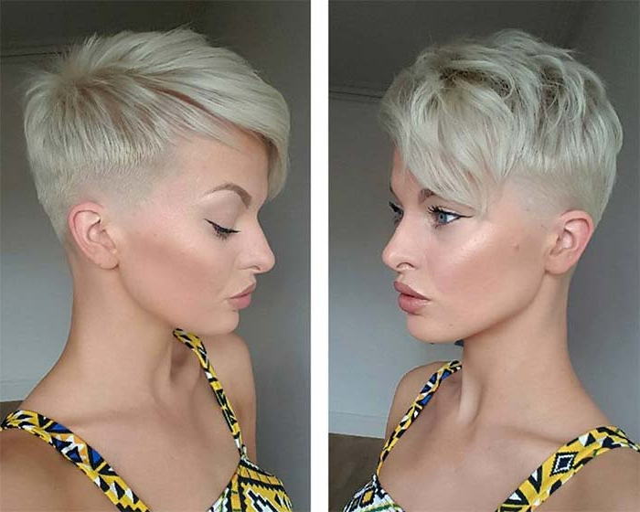 100 Short Hairstyles For Women: Pixie, Bob, Undercut Hair | Fashionisers Pertaining To Long Blonde Pixie Haircuts With Root Fade (View 21 of 25)