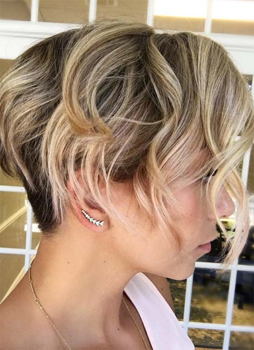 100 Short Hairstyles For Women: Pixie, Bob, Undercut Hair | Fashionisers Regarding Long Blonde Pixie Haircuts With Root Fade (View 12 of 25)