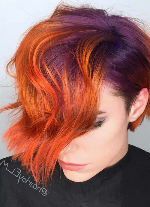 100 Short Hairstyles For Women: Pixie, Bob, Undercut Hair For Burgundy And Tangerine Piecey Bob Hairstyles (View 16 of 25)