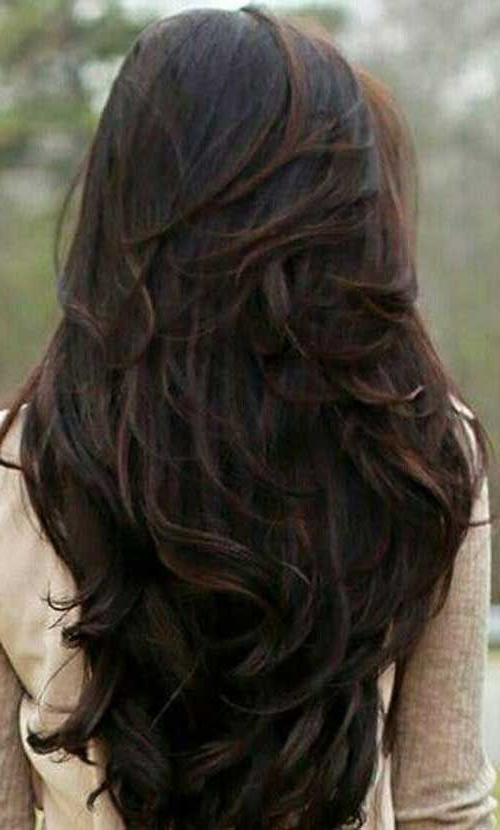 11 Cute Long Hairstyles With Layers 2018 | Hair | Pinterest | Hair Regarding Long Feathered Espresso Brown Pixie Hairstyles (View 3 of 25)