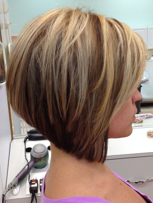 12 Stacked Bob Haircuts: Short Hairstyle Trends – Popular Haircuts For Stacked Blonde Balayage Pixie Hairstyles For Brunettes (View 11 of 25)