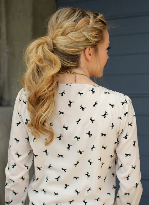 15 Adorable French Braid Ponytails For Long Hair – Popular Haircuts With French Braid Ponytail Hairstyles With Curls (View 14 of 25)