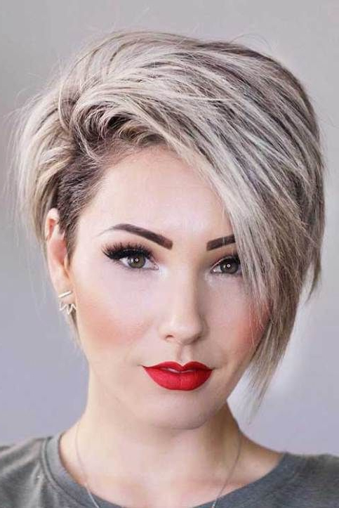 17 More Fresh Layered Short Hairstyles For Round Faces   Hairstyles With Rounded Pixie Bob Haircuts With Blonde Balayage (View 11 of 25)