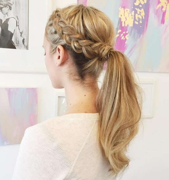 18 Cute Braided Ponytail Styles – Popular Haircuts In Cascading Braided Ponytails (View 11 of 25)